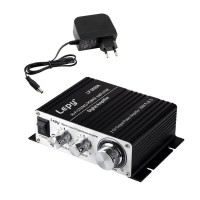 Lepy LP-2020A+ Digital Mini Hi-Fi Audio Stereo Home Car Amplifier Tripath TA2020 W/ 13.5V 3A Power Adapter Black
