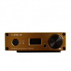 I.AM.D V200 Digital Audio Amplifier Bluetooth Headphone Amp 150Wx2 CM6631A 24Bit 192KHz USB Optical Coaxial AUX OLED Gold