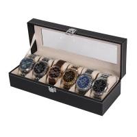 New Black PU 6 Grid Watch Display Box Show Case Jewelry Storage Organizer