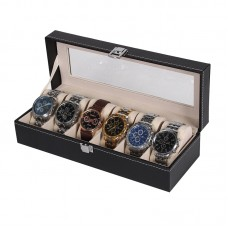 New Black PU 6 Grid Watch Display Box Show Case Jewelry Storage Organizer
