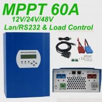 LCD MPPT Solar Charge Controller 12V 24V 48V With DC Load LAN RS232 Max 150V PV 60A