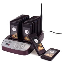 16 Channel Restaurant Coaster Pager Guest Call 433.92MHz Wireless Paging Queuing Calling System