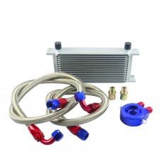 VR- AN10 Oil Cooler Kit 16Rows Transmission +Oil Filter Adapter Blue+Stainless Steel Braided Hose VR7016+6721BR