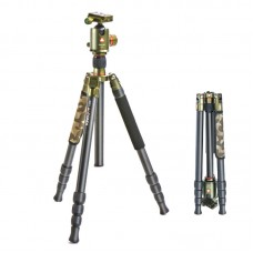Kingjoy K2208+QH20 Multifunction Low Angle Shooting Carbon Fiber 4 Section Camera Mountain Tripod with Ball Head