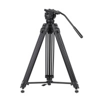 Kingjoy VT-2500 3 Section Alloy Video Photo Tripod Kit Pan Fluid Ball Head for DSLR Camera Video Recorder DV