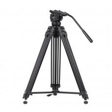 Kingjoy VT-2500 3 Section Alloy Video Photo Tripod Kit Pan Fluid Ball Head for DSLR Camera Video Recorder DV