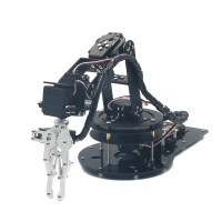 Assembled Metal Alloy 6DOF Robot Arm Clamp Claw Mount Kit with LD-1501 Servos & 32ch Controller for Arduino - Black