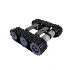 T101-P 33 12V Motor Chassis Plastic Tank Smart Car Black for Teaching