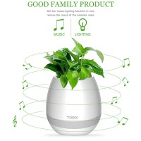 Smart Piano Bluetooth Speaker Playing Music Flower Pot LED Night Light Flowerpot