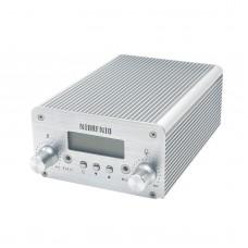 T6B 1W 6W Audio Wireless Bluetooth FM Transmitter Broadcast Radio Station 76-108Mhz + Power Supply for Car-Silver