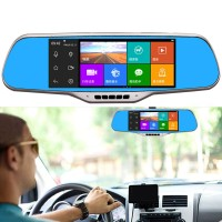 Car Drive Recorder Android GPS Navigation Rear Viewing Mirror Reversing 7'' Screen D90 1080P