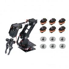 6DOF Unassembled Mechnical Arm Robot + 6PCS MG996R Analog Servo + 6PCS Metal Servo Wheel