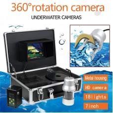 F08 360° Underwater Camera HD Fish Finder IP68 1000TVL Waterproof 7'' LCD 20M