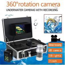 "7"" 18 LED 360° Panning Camera Underwater  Fish Finder HD DVR 1000TVL Recording"