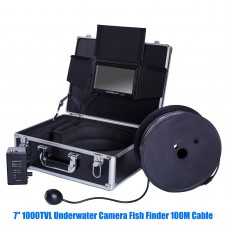 7'' 1000TVL Underwater Camera HD Fish Finder IP68 12 LED Light 100M Cable