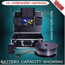1000TVL Underwater Camera HD Fish Finder DVR Recording 12 LED Light 7'' 100M Cable 8G SD