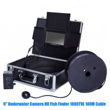 9'' IP68 Underwater Camera HD Fish Finder 1000TVL 12 LED Light 100M Cable