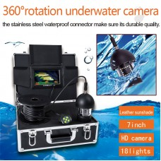 360° Panning Underwater HD Camera Fish Finder 7'' 1000TVL 20m Depth 5mm Cable