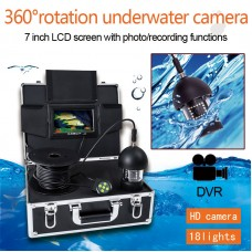 7'' 360° Panning Underwater HD Camera DVR RecordingFish Finder 1000TVL 20m Depth 8G SD