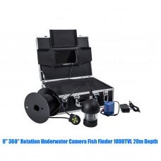 9'' 360° Rotation Underwater HD Camera Fish Finder 1000TVL 20m Depth 18 White Lights