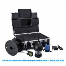 360° Rotation Underwater DVR Recording Camera Fish Finder 9'' 1000TVL 20m Depth 18 LED
