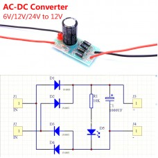 1N4007 AC-DC Converter 12V 1A Full-bridge Rectifier Filter Power Supply Module