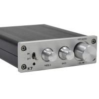 ZHILAI K7 HIFI TDA7498 T-AMP Analog Signal Digital Terble Bass Adjustment Amplifier High Power 2X70W Silver w/ Power Supply