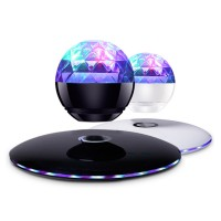 Wireless Speaker Bluetooth Floating Magnetic Levitating Speaker LED for Christmas Gift White Black