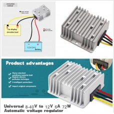 Car Power Automatic Voltage Stabilizer Regulator 8-40V to 12V 6A 72W Convert Kit