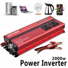 2000W Car LED Power Inverter Converter DC 24V To AC 220V 4 USB Ports Charger
