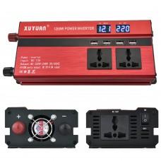 1200W Car LED Power Inverter Converter DC 12V To AC 220V 4 USB Ports Charger