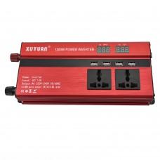 Car LED Power Inverter Converter DC 12V To AC 220V 1200W USB Ports Charger