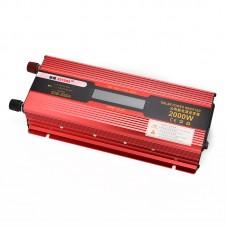 Car LED Power Inverter Converter 2000W  DC 12V To AC 220V LCD Diplay