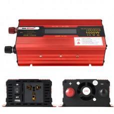 1000W Car LED Power Inverter Converter DC 24V To AC 220V LCD Diplay General Socket
