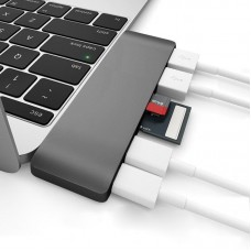 Type-C USB3.0 HUB Adapter 6 In 1 Comb HUB USB C Charging SD Micro SD Card Reader for Macbook Pro Data Transfer