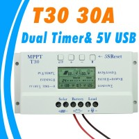 Solar Charge Controller MPPT PWM Voltage Settable LCD Dispaly Light Dual Timer Control 30A 12V 24V Auto Work
