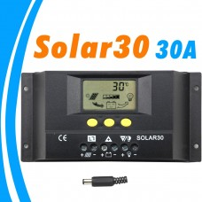 PWM Controller Solar 30A 12V 24V Auto LCD Display for Max 360w 720w Panel Solar with Temp Senor Light Timer Control
