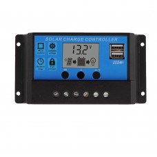 10A 12V 24V Auto Work PWM Solar Charge Controller with LCD Dual USB 5V Output Solar Cell Panel Charger Regulator PV Home