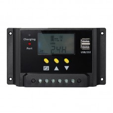 30A PWM Solar Charger Controller Dual 5V USB 12V 24V Auto Work Solar Panel Battery Light Timer Control