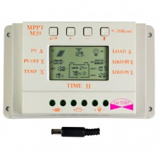 MPPT 20A LCD Solar Charger Controller 12V 24V with Temperature Sensor Light and Timer Control