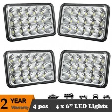 "4 Set 4X6"" LED Headlights CREE Light Bulbs Crystal Clear Sealed Beam Headlamp"