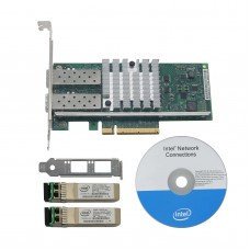 Intel BNT10G42BF X520-SR2 DA2 Dual Port Ethernet Adapter Gigabit Fiber Network Card E10G42BFSR with 2 Intel SFPs