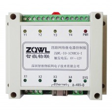 ZQWL-IO-1CNRC4-I 4-channel Network Relay Control Board RS485/Modbus TCP/RTU Isolation