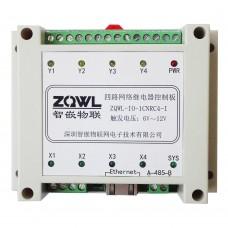 ZQWL-IO-1CNRC4-I 4-channel Network Relay Control Board RS485/Modbus TCP/RTU Isolation