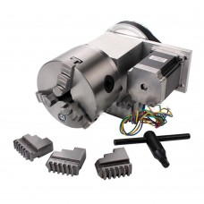 CNC 4th Axis Hollow Shaft Rotary Table Router Rotational Axis 3 Jaw Φ100mm Chuck