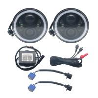 "2PCS 7"" RGB LED Headlight Bluetooth Halo DRL H/L Beam for Jeep JK 07-16 Wrangler"