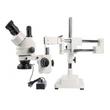 SM-4NTP 7X-45X Simul-Focal Stereo Lockable Zoom Microscope Dual Arm