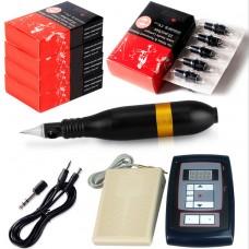 10W Black Rotary Tattoo Machine Kit Tattoo Permanent Makeup Pen Motor Needle Cartridge