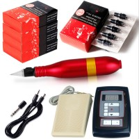 10W Red Rotary Tattoo Machine Kit Tattoo Permanent Makeup Pen Motor Needle Cartridge