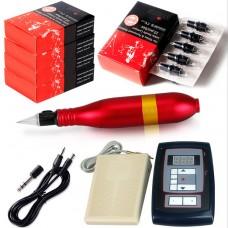 10W Red Rotary Tattoo Machine Kit Tattoo Permanent Makeup Pen Motor Needle Cartridge